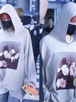 เสื้อฮู้ดแจ็คเก็ตสีเทาอ่อน Bigbang พิมพ์ลายดอกไม้