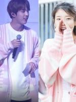 เสื้อคลุมแจ็คเก็ตเกาหลี BTS สีชมพู แต่งลายขวาง