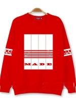 เสื้อแจ็คเก็ตแขนยาวสีแดง รุ่น BIGBANG MADE TOUR ALBUM แต่งแถบสีขาวด้านหน้า+แขนเสื้อ