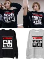 เสื้อสเวตเตอร์แขนยาวคอกลมแฟชั่น Kim Tae Yeon SNSD สกรีน Vision Street Wear