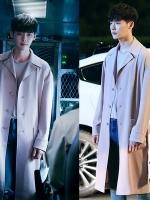 เสื้อโค้ทตัวยาวเกาหลี สีเบจ คังชอล W Two Worlds แต่งคอปก