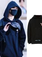 เสื้อฮู้ดแจ็คเก็ตสีดำเกาหลี BTS แต่งพิมพ์ลาย3มิติ