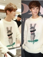 เสื้อแขนยาวแฟชั่นสีขาว EXO ถักรูปกระต่าย