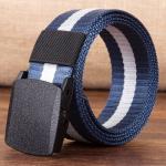 เข็มขัดผ้า Nos รุ่นพิเศษ POM-anti allergic material สีน้ำเงิน คาดขาว