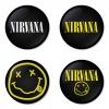 ของที่ระลึกวง Nirvana เลือกด้านหลังได้ 4 แบบ เข็มกลัด, แม่เหล็ก, กระจกพกพา หรือ พวงกุญแจที่เปิดขวด 1 แพ็ค 4 ชิ้น [1]