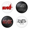 AC/DC button badge 1.75 inch custom backside 4 type Pinback, Magnet, Mirror or Keychain. Get 4 in package [2]