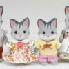 ครอบครัวซิลวาเนียน แมวลายสีเทา 4 ตัว Sylvanian Families Gray Cat Family