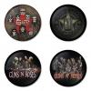 ของที่ระลึกวง Guns N Roses เลือกด้านหลังได้ 4 แบบ เข็มกลัด, แม่เหล็ก, กระจกพกพา หรือ พวงกุญแจที่เปิดขวด 1 แพ็ค 4 ชิ้น [9]