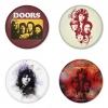 ของที่ระลึกวง The Doors เลือกด้านหลังได้ 4 แบบ เข็มกลัด, แม่เหล็ก, กระจกพกพา หรือ พวงกุญแจที่เปิดขวด 1 แพ็ค 4 ชิ้น [5]