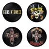 ของที่ระลึกวง Guns N Roses เลือกด้านหลังได้ 4 แบบ เข็มกลัด, แม่เหล็ก, กระจกพกพา หรือ พวงกุญแจที่เปิดขวด 1 แพ็ค 4 ชิ้น [5]