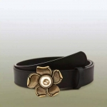 เข็มขัด Gucci Leather belt with metal flower สีดำ หนังแท้ทั้งเส้น