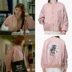 เสื้อแจ็คเก็ตแขนยาวสีชมพู คิมบ๊กจู พิมพ์ลายด้านหลัง