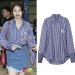 เสื้อเชิ้ตแขนยาวสีน้ำเงินเข้ม Bae Suzy ลายเส้นตรง แต่งขอบ
