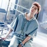 ชุดฮู้ดเซทแฟชั่นสีฟ้ายีนส์ EXO แต่งผูกด้านหน้า เสื้อ+กางเกง