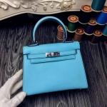 Hermes Mini kelly 8นิ้ว สีฟ้า หนังEpsom