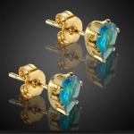 ต่างหูแฟชั่นสวยงามหรูหราด้วยบลูแซฟไฟร์(Blue Sapphire) ขนาด4.5*6.0CM