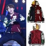 เสื้อแจ็คเก็ตแขนยาวเกาหลี BTS พิมพ์ลายหน้า/หลัง มีฮู้ด แนวเบสบอล มี2สี