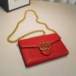 GG Marmont leather mini chain bag สีแดง ทำจากหนังวัวแท้ อย่างดี มีขนาด 8 นิ้ว เดทโคท มาพร้อมถุงผ้า การ์ด สายสะพายทำจากโซ่ ใช้เป็นคลัชออกงานก็สวย งาน Top mirror/hiend
