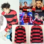 เสื้อแจ็คเก็ตเกาหลี BIGBANG สีแดง แต่งลายขวาง