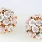 ต่างหูสไตล์คลาสิคช่อดอกกุหลาบสีชมพูสวยงามแวววาวด้วยคริสตัล ขนาด2.0Cm.น้ำหนัก13.6กรัม