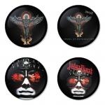 ของที่ระลึกวง Judas Priest เลือกด้านหลังได้ 4 แบบ เข็มกลัด, แม่เหล็ก, กระจกพกพา หรือ พวงกุญแจที่เปิดขวด 1 แพ็ค 4 ชิ้น [3]