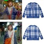 เสื้อคลุมสเวตเตอร์ถัก สีน้ำเงิน คิมบ๊กจู คอV แต่งลายตาราง