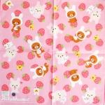 ผ้าเช็ดหน้า หมีลีลัคคุมา Rilakkuma Pink Strawberry 42x42 cm Handkerchief