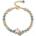 สร้อยข้อมือ18K Gold Plated โดดเด่นด้วย Aquamarine อะความารีนสีฟ้าขาวรูปหัวใจ ขนาดความยาวสร้อย 18 CM.