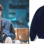 เสื้อแจ็คเก็ตแขนยาวสีน้ำเงินเข้ม ชองจุนฮยอง แต่งซิบ