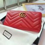กระเป๋าสตางค์ GUCCI GG Marmont zip around wallet รุ่นใหม่ สีแดง