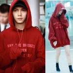 เสื้อฮู้ดแจ็คเก็ตแขนยาวสีแดง G-dragon พิมพ์ลายอักษร
