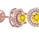 ต่างหูเรียบหรูแต่ดูดีด้วยRose Gold Plated หุ้มCZ Dimond 0.5ct สีเหลืองสวยงาม คงทนสวมใส่ได้ทุกโอกาส