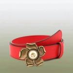 เข็มขัด Gucci Leather belt with metal flower สีแดง หนังแท้ทั้งเส้น