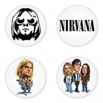 ของที่ระลึกวง Nirvana เลือกด้านหลังได้ 4 แบบ เข็มกลัด, แม่เหล็ก, กระจกพกพา หรือ พวงกุญแจที่เปิดขวด 1 แพ็ค 4 ชิ้น [3]