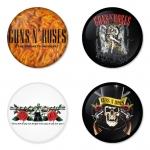 ของที่ระลึกวง Guns N Roses เลือกด้านหลังได้ 4 แบบ เข็มกลัด, แม่เหล็ก, กระจกพกพา หรือ พวงกุญแจที่เปิดขวด 1 แพ็ค 4 ชิ้น [6]