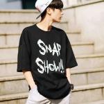 เสื้อแฟชั่นเกาหลี BTS SUGA สีดำ ทรงหลวม พิมพ์อักษรด้านหน้า