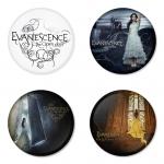 ของที่ระลึกวง Evanescence เลือกด้านหลังได้ 4 แบบ เข็มกลัด, แม่เหล็ก, กระจกพกพา หรือ พวงกุญแจที่เปิดขวด 1 แพ็ค 4 ชิ้น [6]