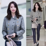เสื้อแจ๊คเก็ตแขนยาวสีเทา Im Yoona แต่งกระดุม แนวเบสบอล