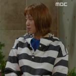 เสื้อฮู้ดกันหนาวสีน้ำเงิน/ขาว คิมบ๊กจู ลายขวาง แต่งกระดุม