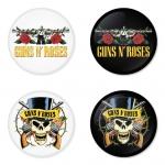 ของที่ระลึกวง Guns N Roses เลือกด้านหลังได้ 4 แบบ เข็มกลัด, แม่เหล็ก, กระจกพกพา หรือ พวงกุญแจที่เปิดขวด 1 แพ็ค 4 ชิ้น [2]
