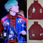 เสื้อแขนยาวแฟชั่นเกาหลี BTS สีแดงลายขวาง แต่งคอเสื้อ