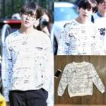 เสื้อแขนยาวแฟชั่นเกาหลี BTS สีขาว พิมพ์ลายทั้งตัว