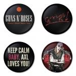 ของที่ระลึกวง Guns N Roses เลือกด้านหลังได้ 4 แบบ เข็มกลัด, แม่เหล็ก, กระจกพกพา หรือ พวงกุญแจที่เปิดขวด 1 แพ็ค 4 ชิ้น [1]