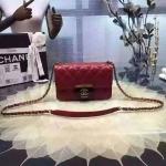 CHANEL flap bag Spring Summer 2016 สีแดง ขนาด 7 นิ้ว ชนช็อป ปี2016 ทรงสวย หนังอย่างดี หนังแท้ทั้งใบ มาพร้อม ถุงผ้า การ์ด ชาแนล มี HOLO งาน Top MIRROR/ HIEND