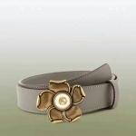 เข็มขัด Gucci Leather belt with metal flower สีเทา หนังแท้ทั้งเส้น
