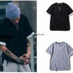 เสื้อยืดแขนสั้น Justin Bieber แต่งขอบ มี2สี