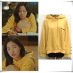 เสื้อฮู้ดแจ็คเก็ตสีเหลือง จีอึนทัก Goblin ทรงหลวม พิมพ์ลายอักษร