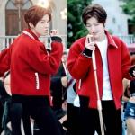 เสื้อแจ็คเก็ตแขนยาวสีแดง EXO ดีไซน์คอปก
