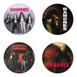 ของที่ระลึกวง Ramones เลือกด้านหลังได้ 4 แบบ เข็มกลัด, แม่เหล็ก, กระจกพกพา หรือ พวงกุญแจที่เปิดขวด 1 แพ็ค 4 ชิ้น [16]