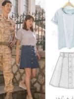 ชุดเซ็ท ซองเฮเคียว เป็นเสื้อยืดคอกลม+กระโปรงยีนส์สั้นติดกระดุมหน้า สไตล์เกาหลี